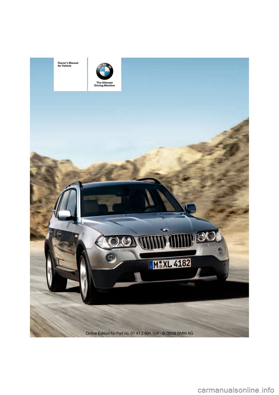 BMW X3 XDRIVE 30I 2009 E83 Owners Manual, Page 1