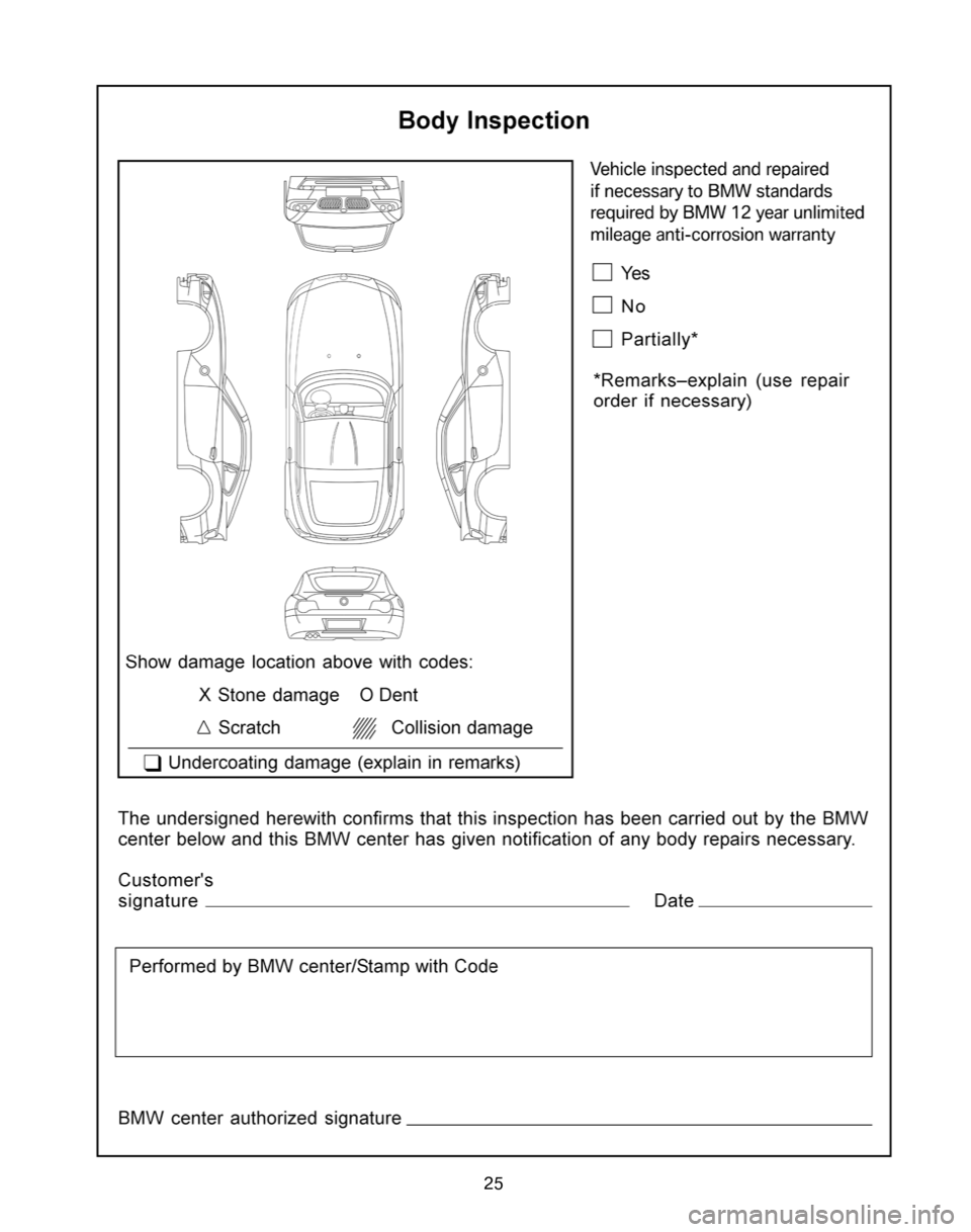 BMW Z4 COUPE 2006 E86 Service and warranty information, Page 29