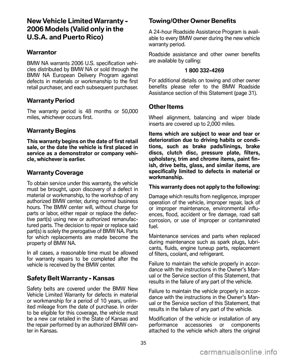 BMW Z4 COUPE 2006 E86 Service and warranty information, Page 39