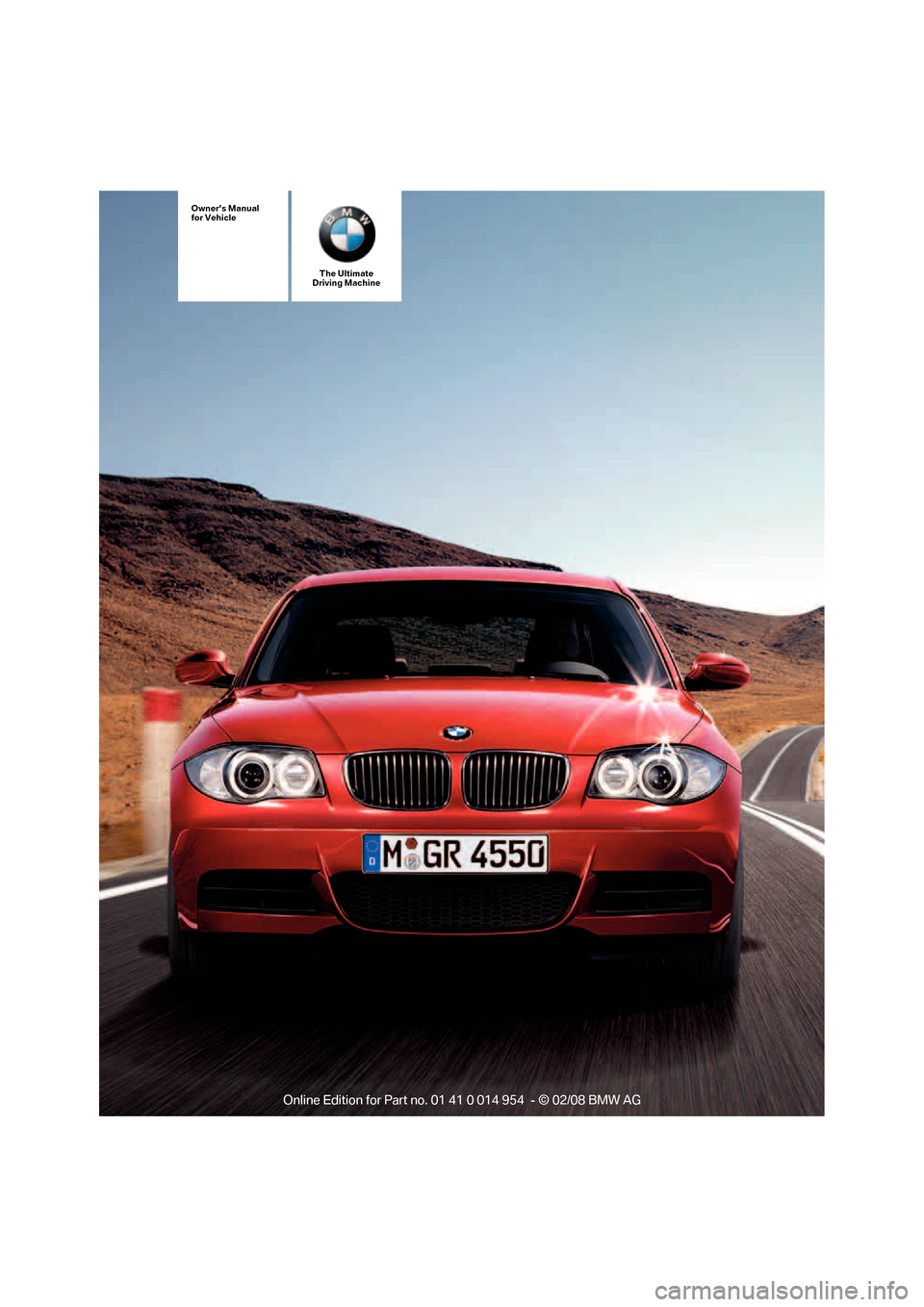 BMW 135I CONVERTIBLE 2008 E88 Owners Manual, Page 1