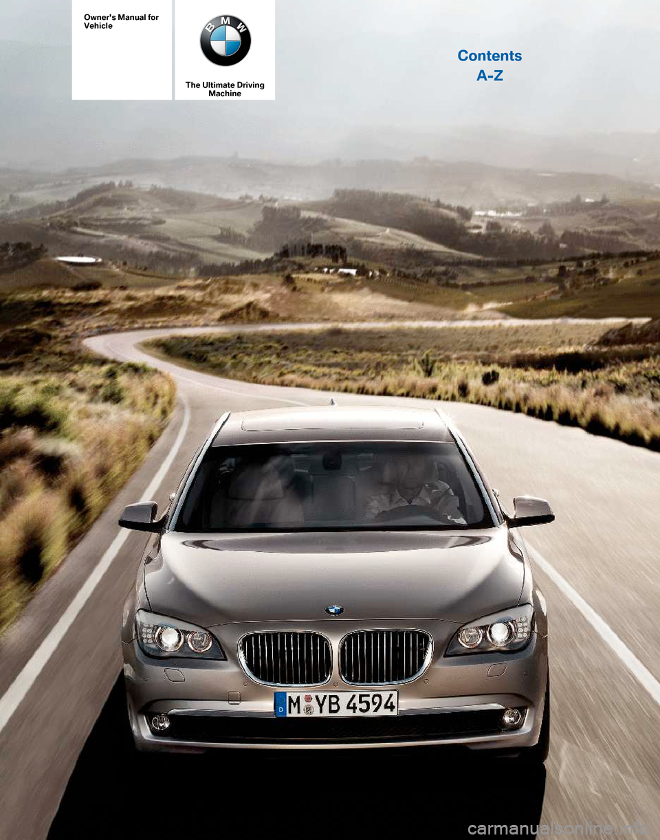 BMW 760LI 2010 F01 Owner\'s Manual