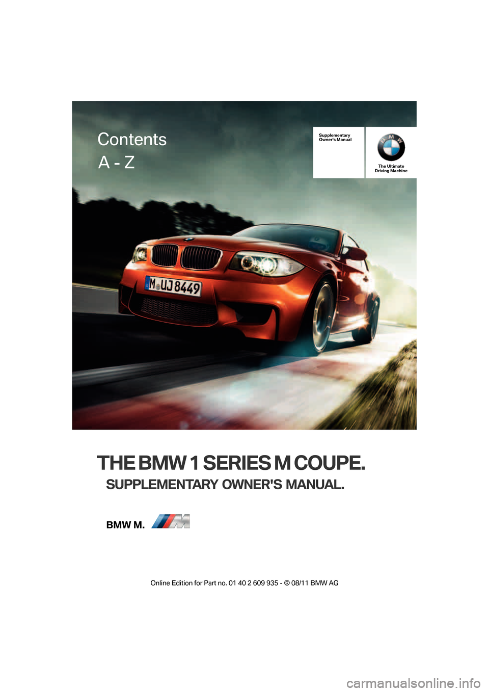 BMW 1M 2011 E82 Owners Manual, Page 1