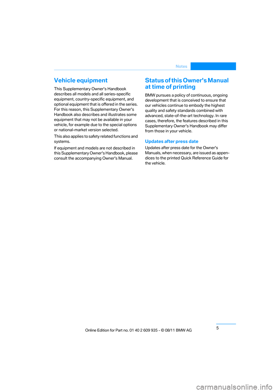 BMW 1M 2011 E82 Owners Manual, Page 6