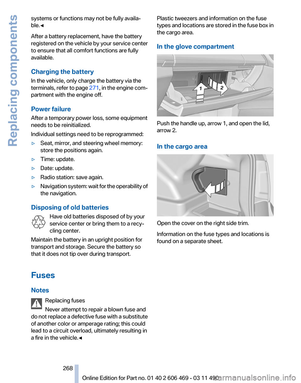 Battery Replacement Bmw 535i Xdrive 2011 F10 Owners Manual Blown Old Fuse Box Page 268