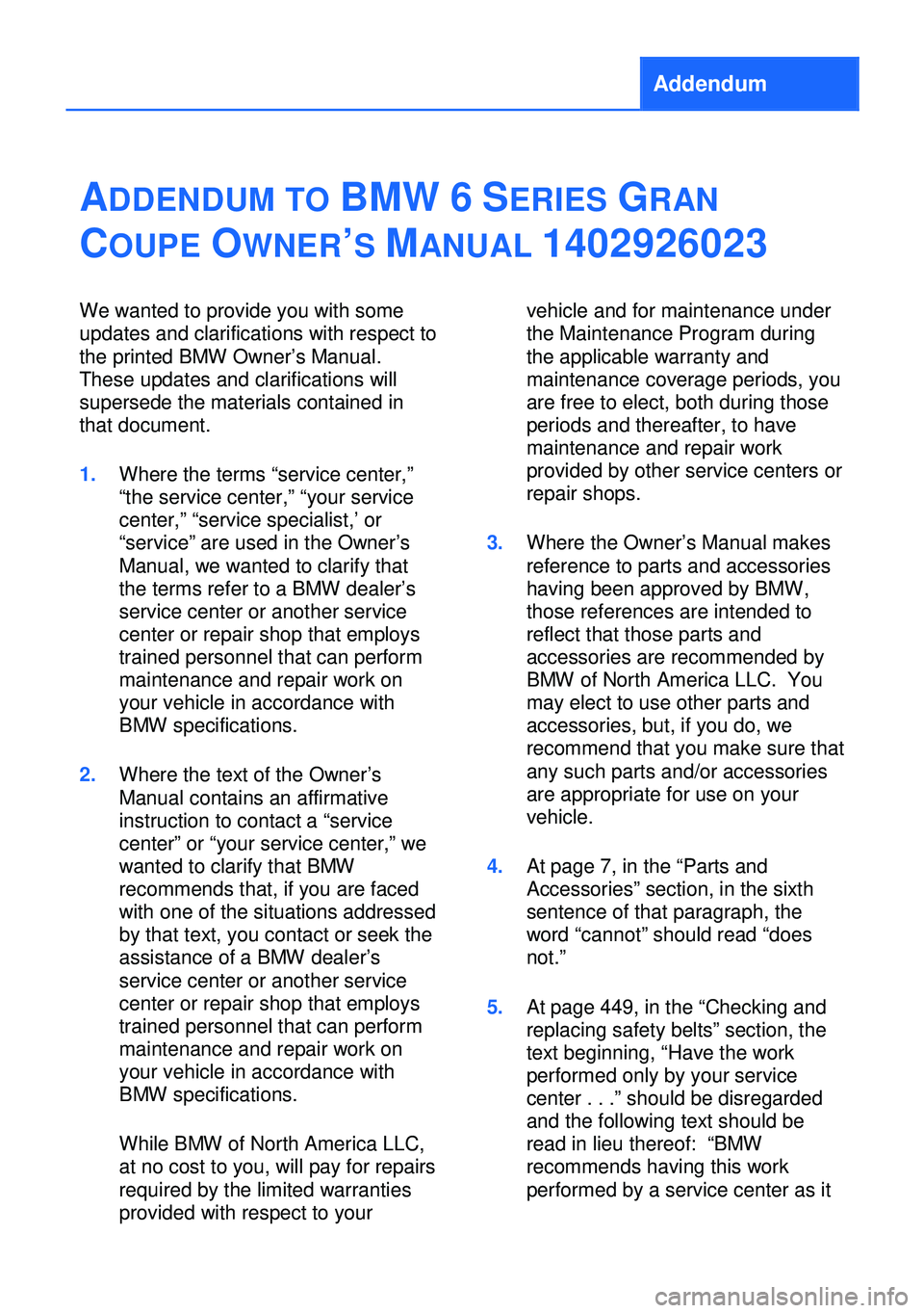 BMW 6 SERIES GRAN COUPE 2013 F12 Owners Manual, Page 5