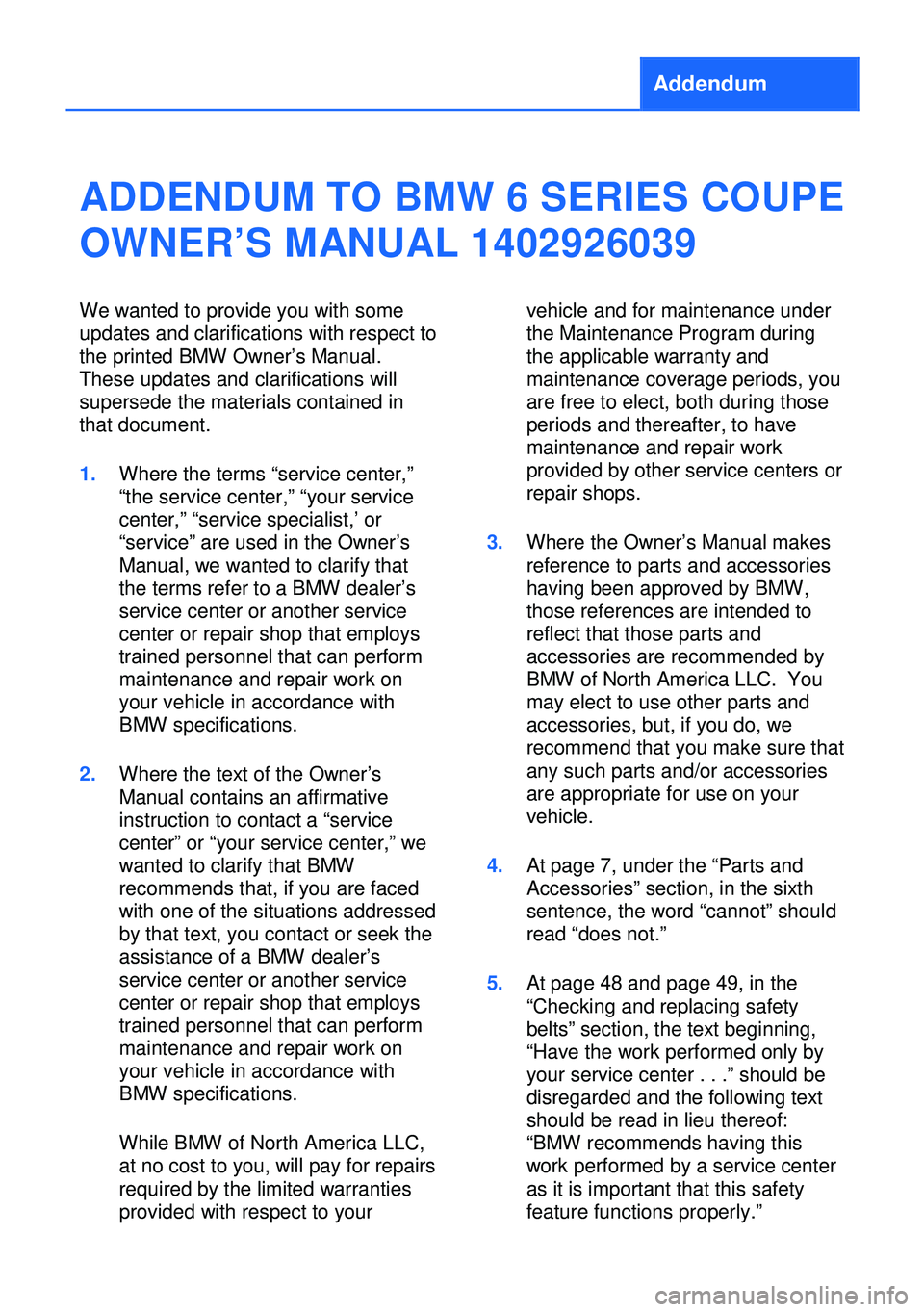 BMW 6 SERIES COUPE 2013 F13 Owners Manual, Page 5