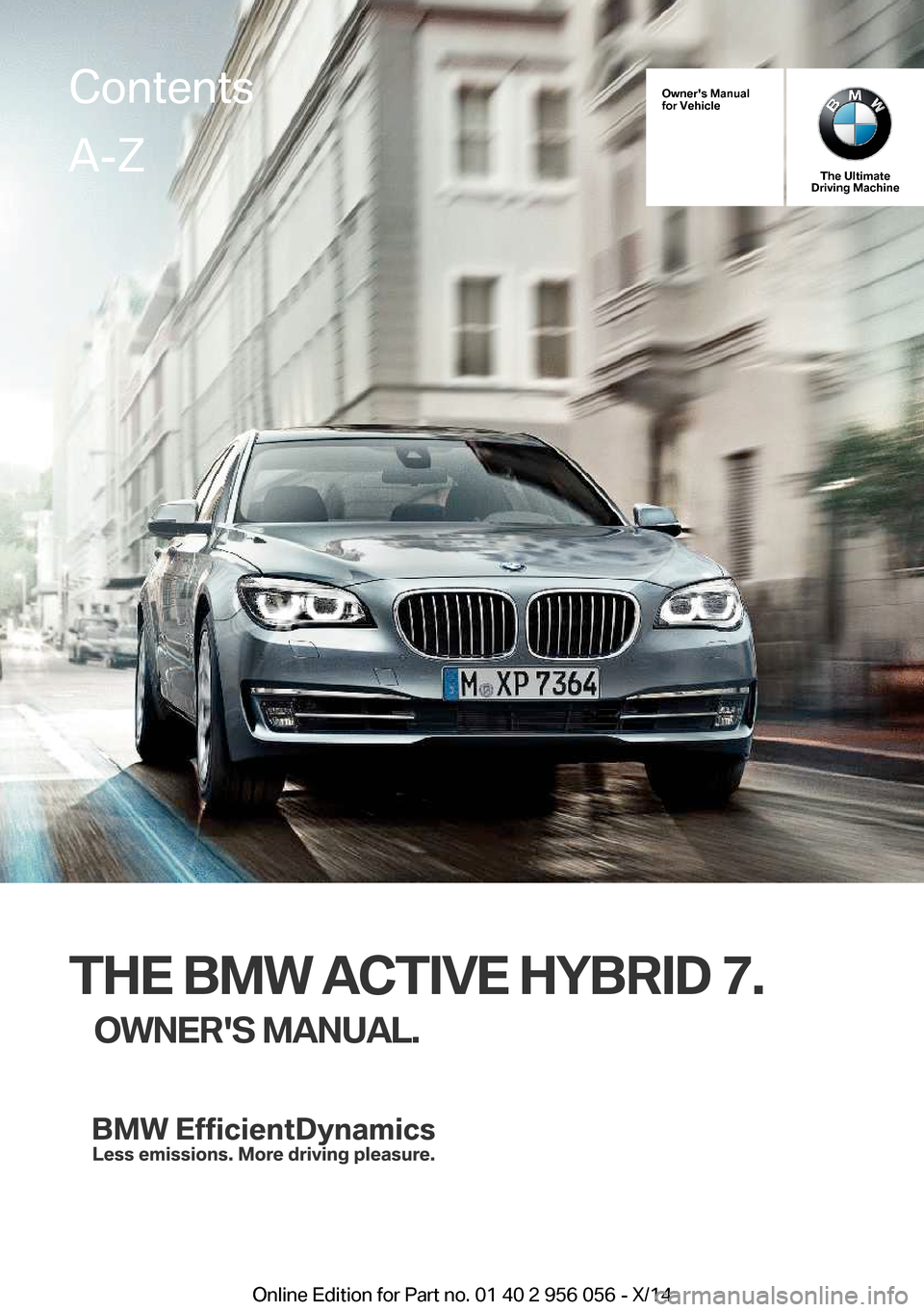 BMW ACTIVE HYBRID 7 2014 F01H Owners Manual, Page 1