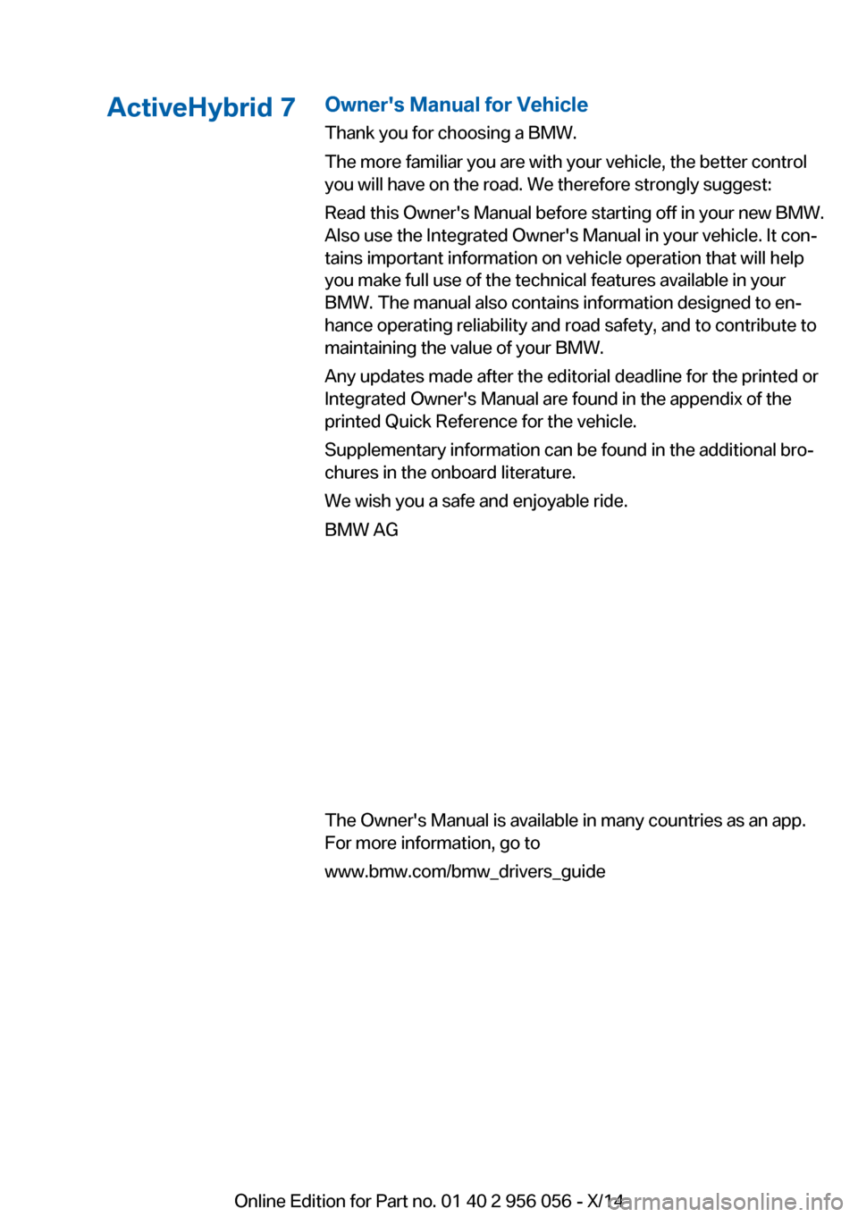 BMW ACTIVE HYBRID 7 2014 F01H Owners Manual, Page 3