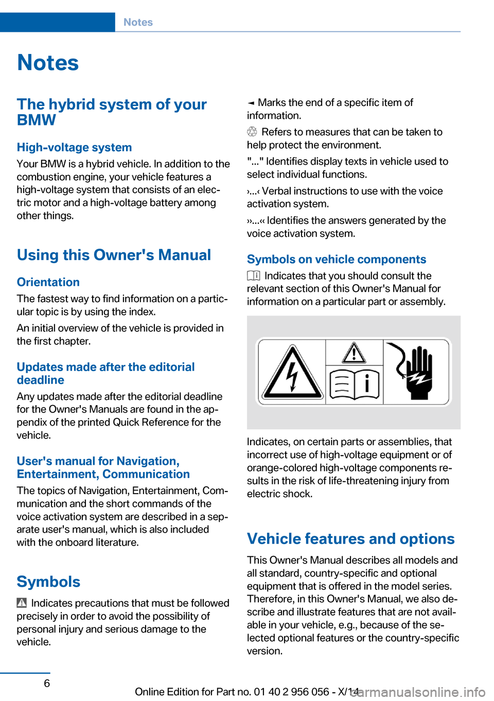 BMW ACTIVE HYBRID 7 2014 F01H Owners Manual, Page 10