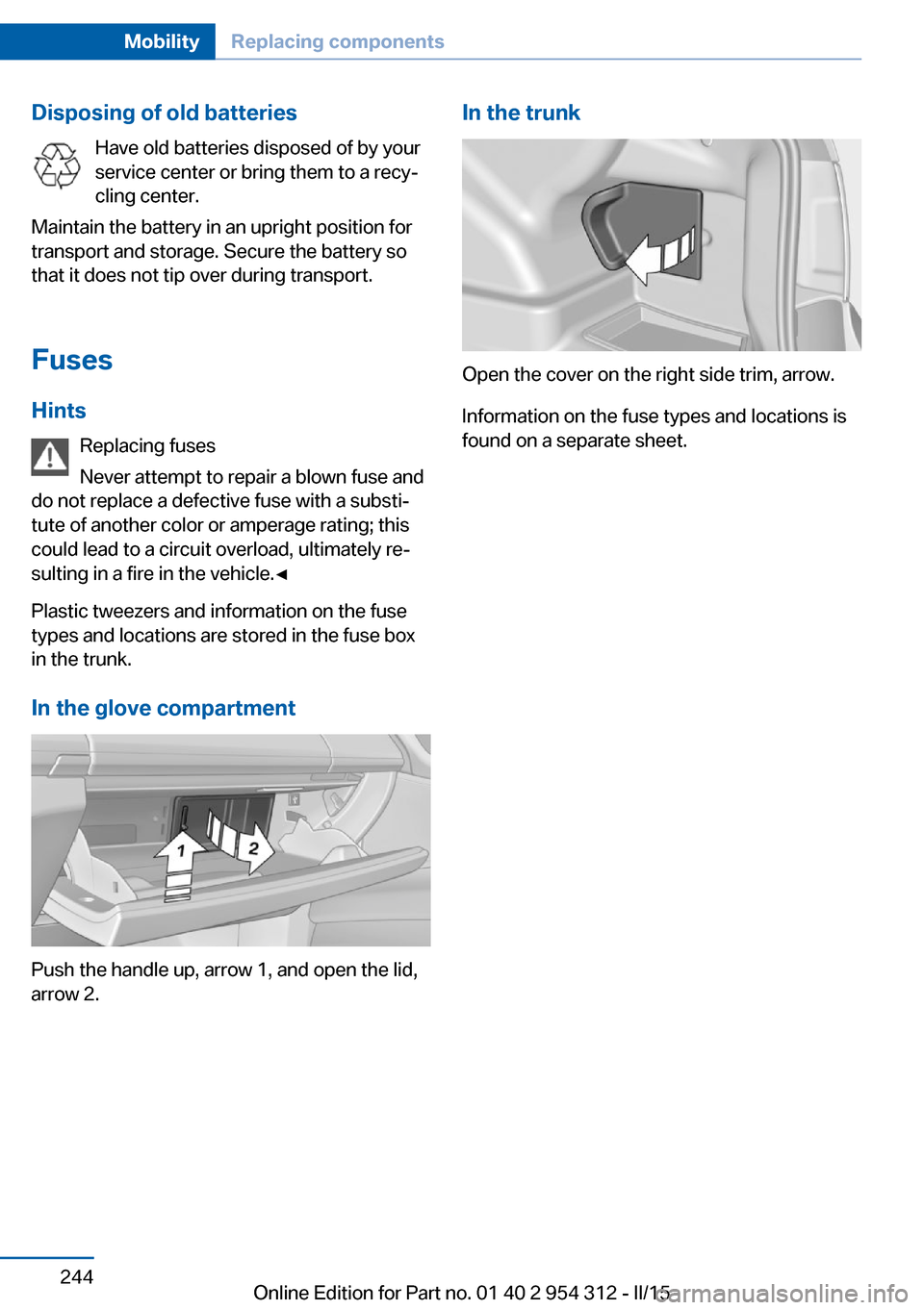 Bmw 5 Series 2015 F10 Owners Manual Fuse Box Page 248