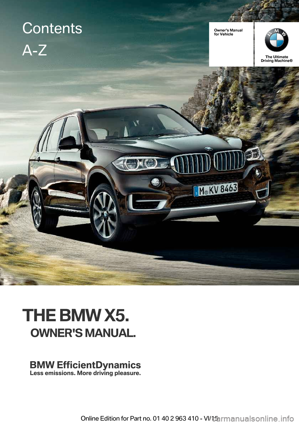 bmw x5 2015 f15 owner's manual