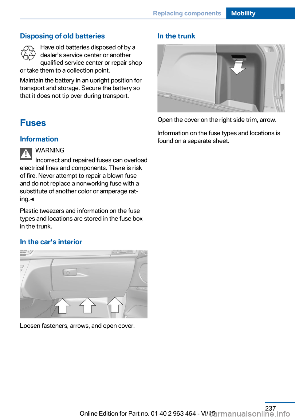 Bmw X6 2015 F16 Owners Manual Car Fuse Box Page 237