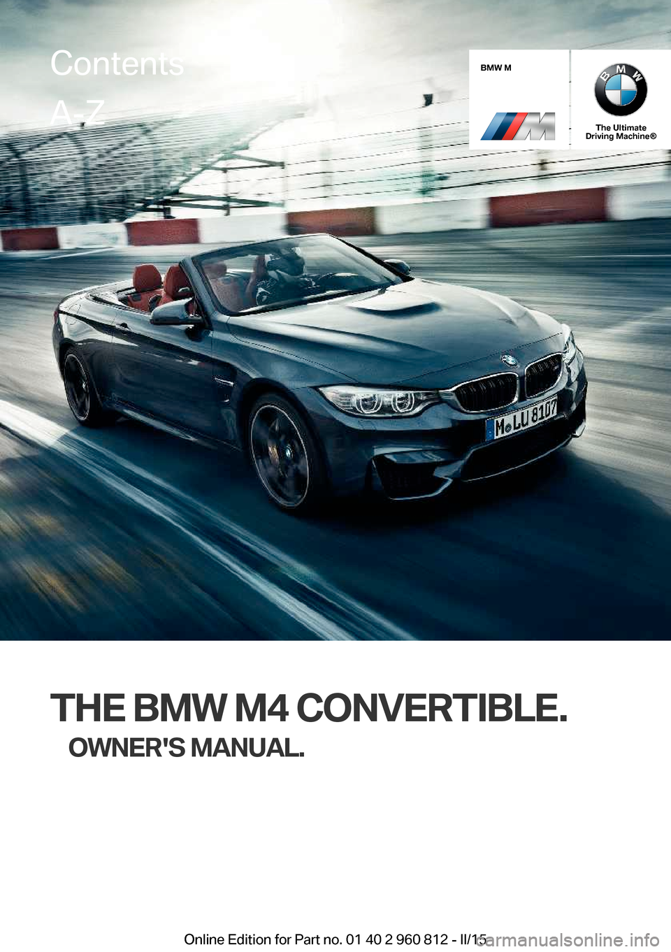 BMW M4 CONVERTIBLE 2015 F83 Owners Manual, Page 1