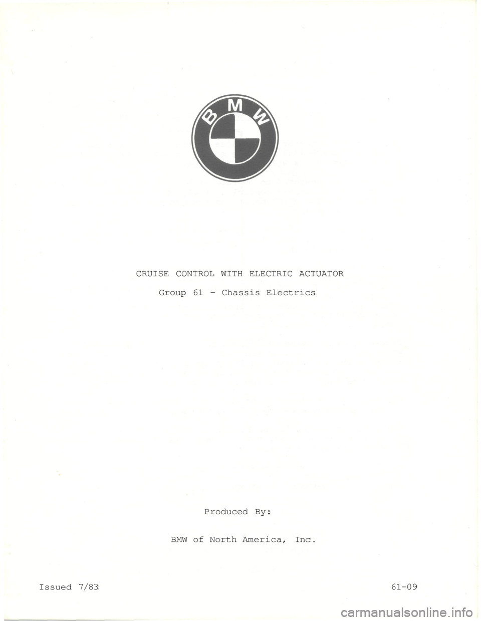 Bmw 5 Series 1984 E28 Cruise Control With Electric Acutator Engine Diagram