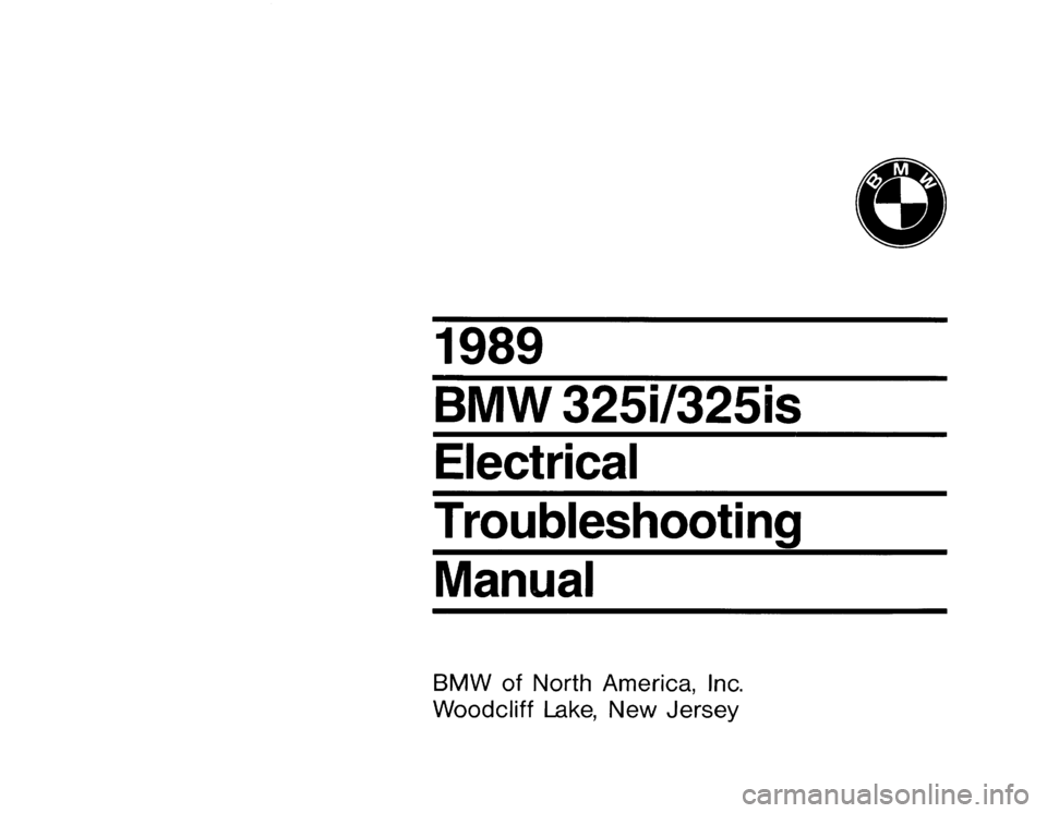 BMW 325i 1989 E30 Electrical Troubleshooting Manual, Page 1