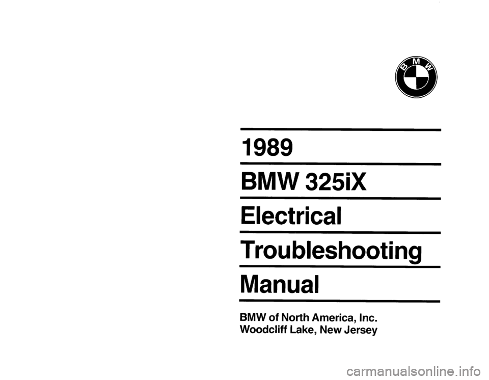 BMW 325ix 1989 E30 Electrical Troubleshooting Manual, Page 1