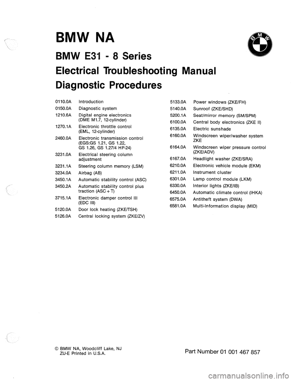 Bmw 850ci 1990 e31 electrical troubleshooting manual sciox Images
