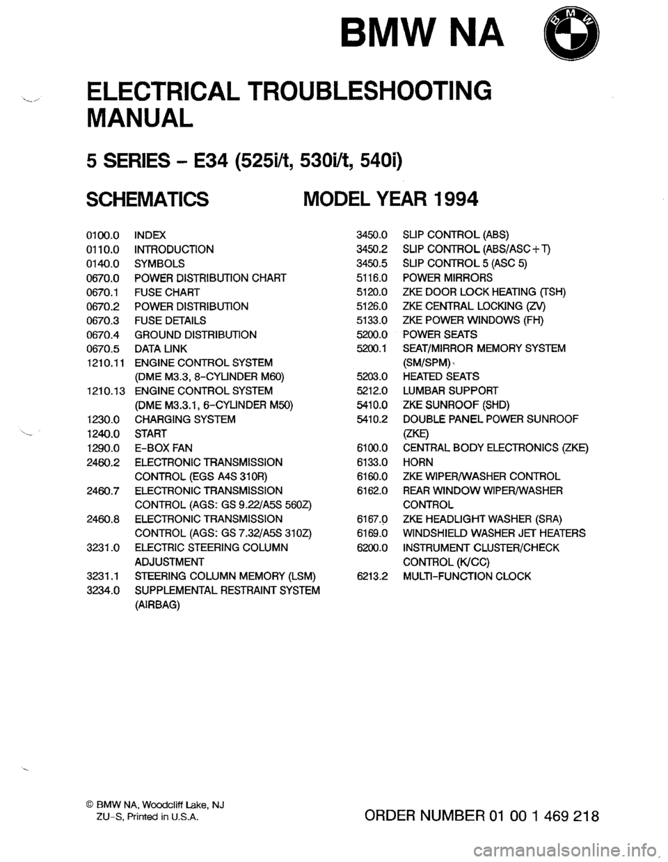 Bmw E34 electrical troubleshooting Manual