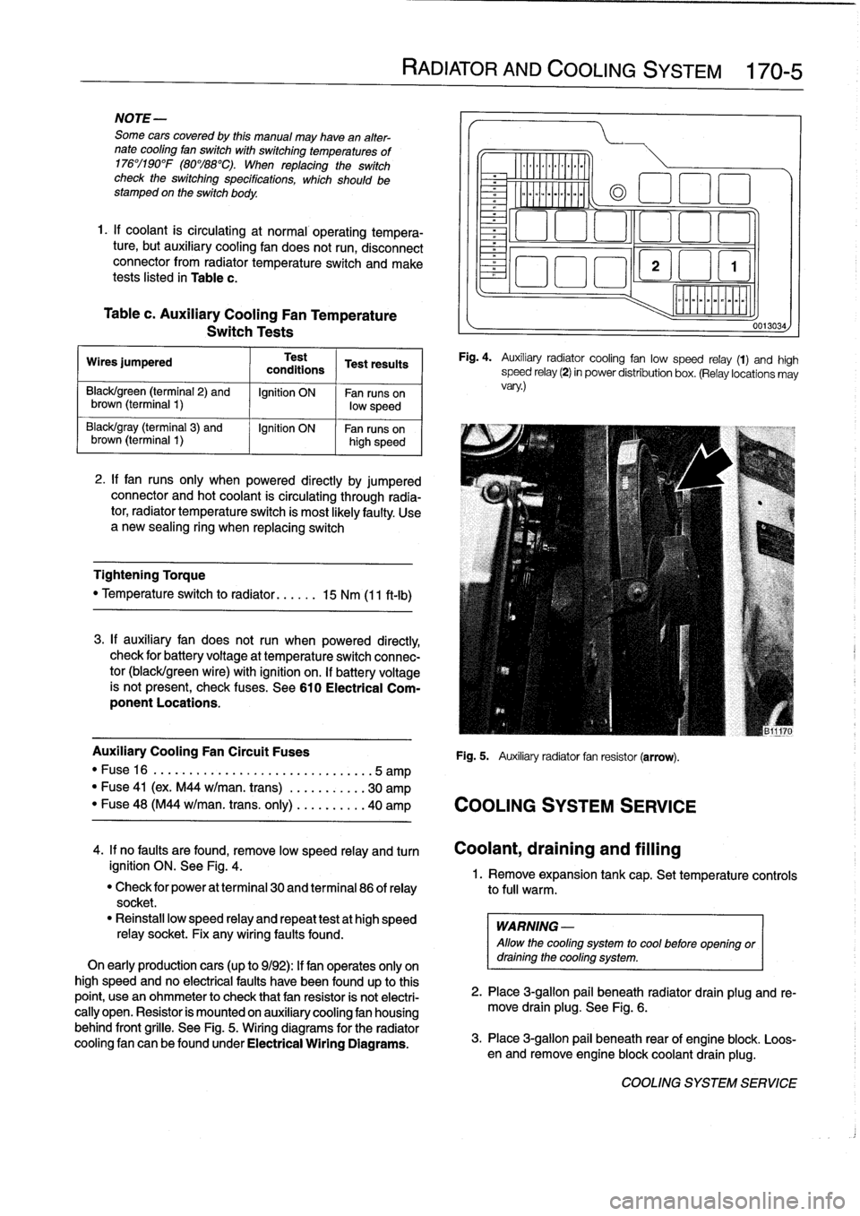 Fuses Bmw 325i 1992 E36 Workshop Manual Fuse Box Page 199