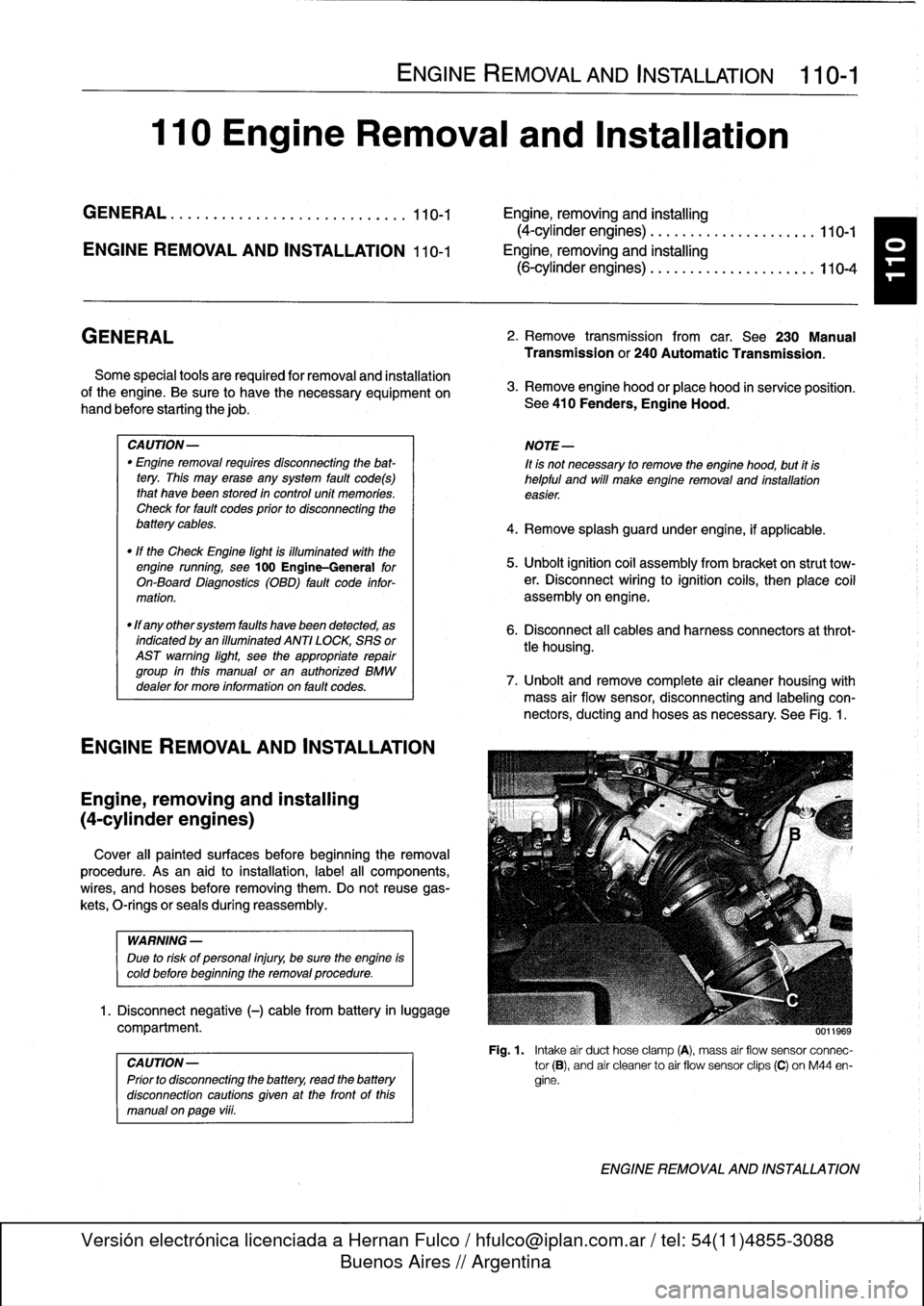 Bmw 325i 1992 E36 Workshop Manual Wiring Harness Removal Page 59 110 Engine