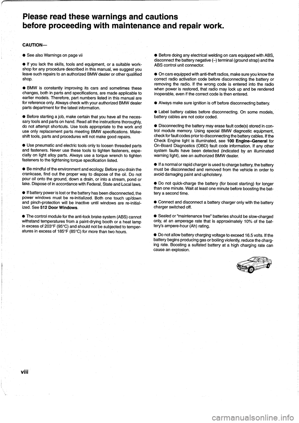 BMW 323i 1993 E36 Workshop Manual, Page 8