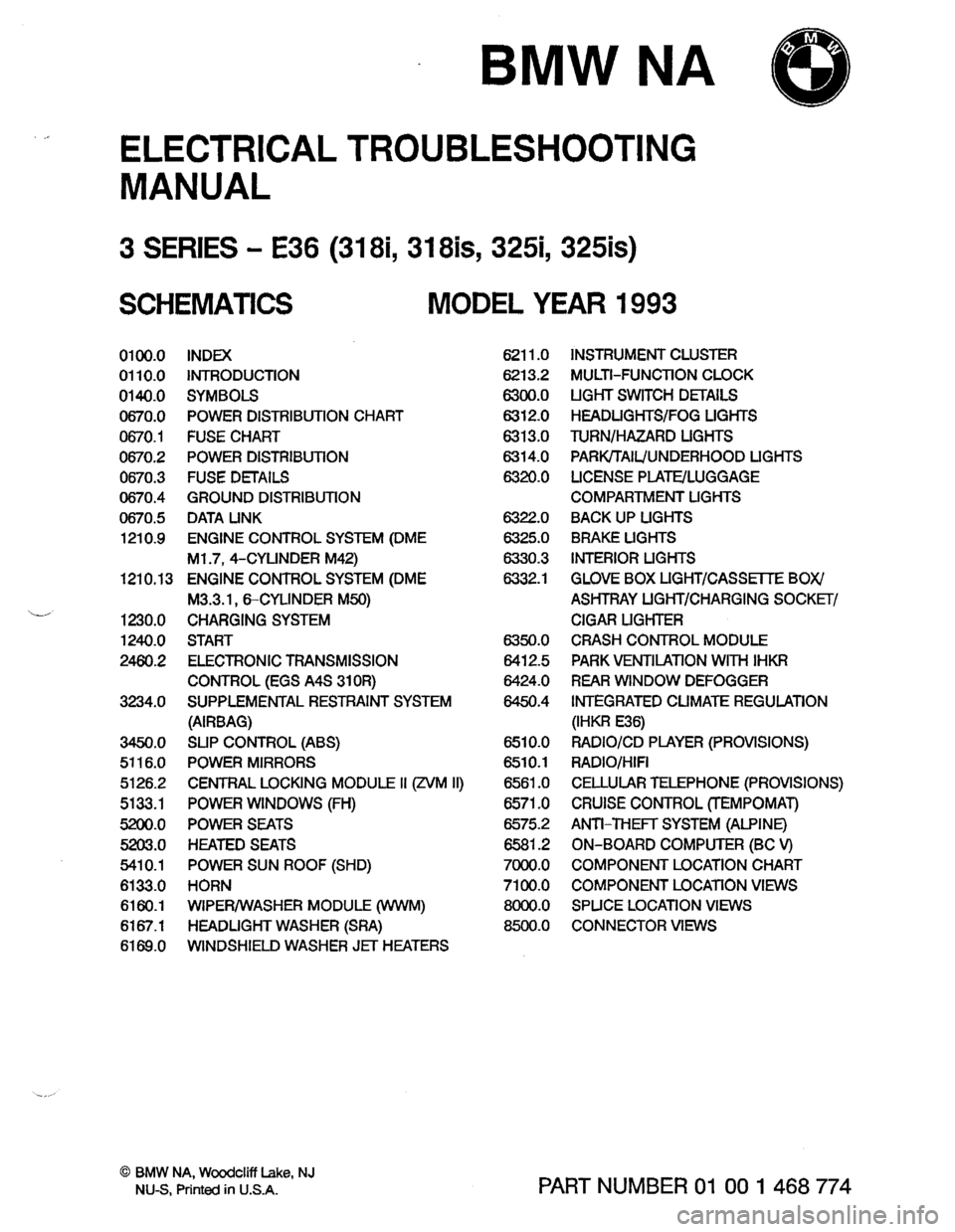 BMW 325is 1993 E36 Electrical Troubleshooting Manual, Page 2