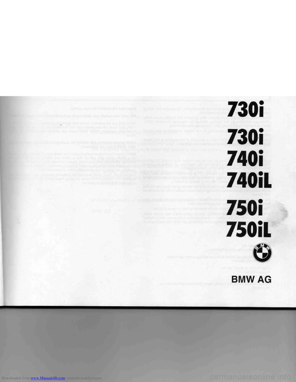 Bmw 7 Series 1994 E38 Owners Manual