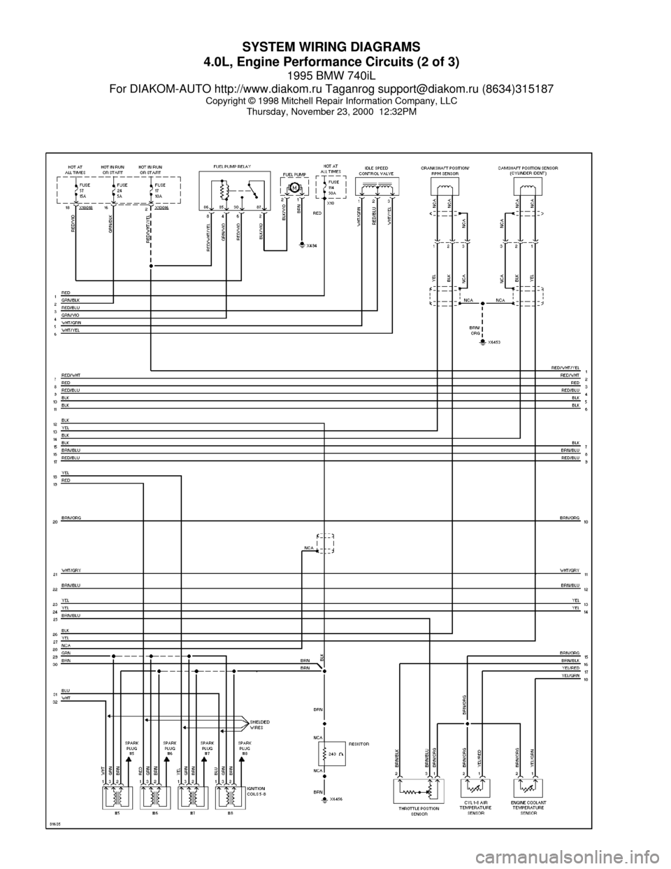 [TVPR_3874]  BMW 740il 1995 E38 System Wiring Diagrams (60 Pages) | 1998 Bmw 740i Wiring Diagram |  | Car Manuals Online