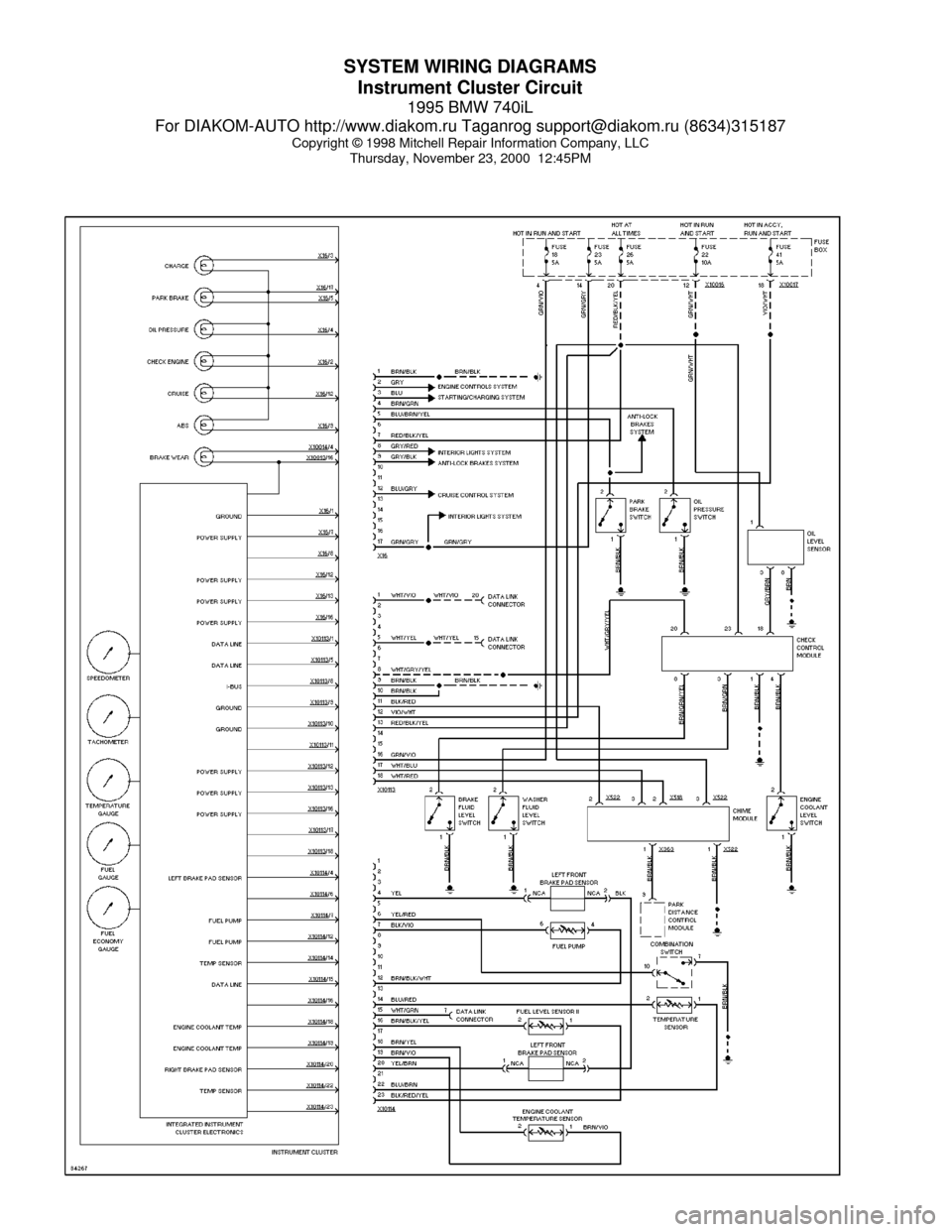 Bmw 740il 1995 E38 System Wiring Diagrams Mitchell