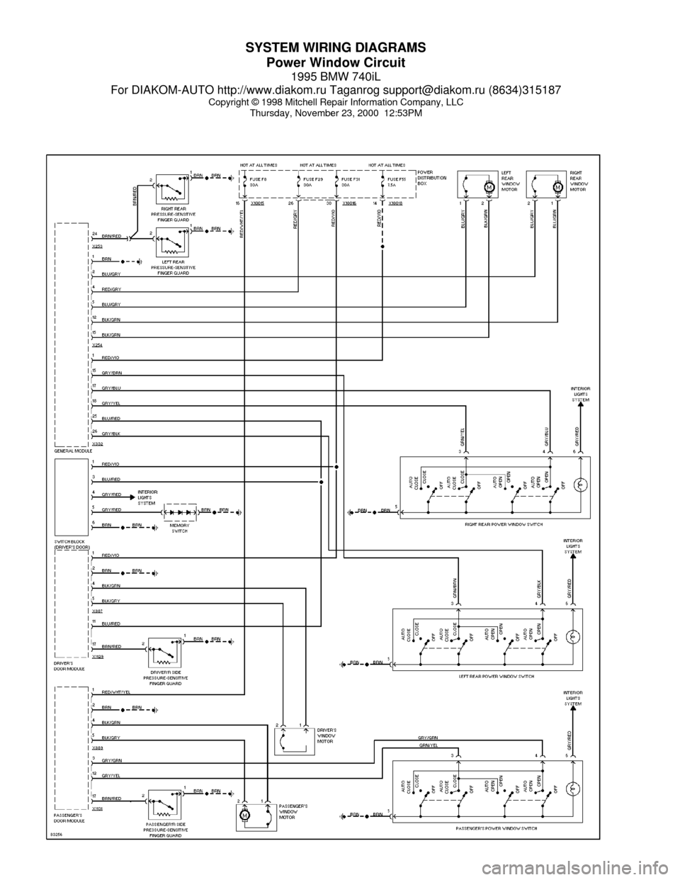 Bmw 740il 1995 E38 System Wiring Diagrams  60 Pages