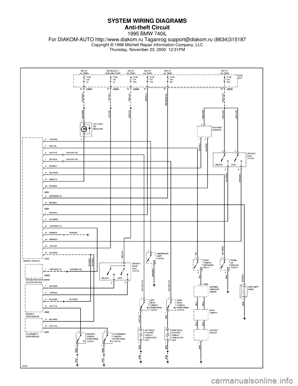 BMW 740il 1995 E38 System Wiring Diagrams
