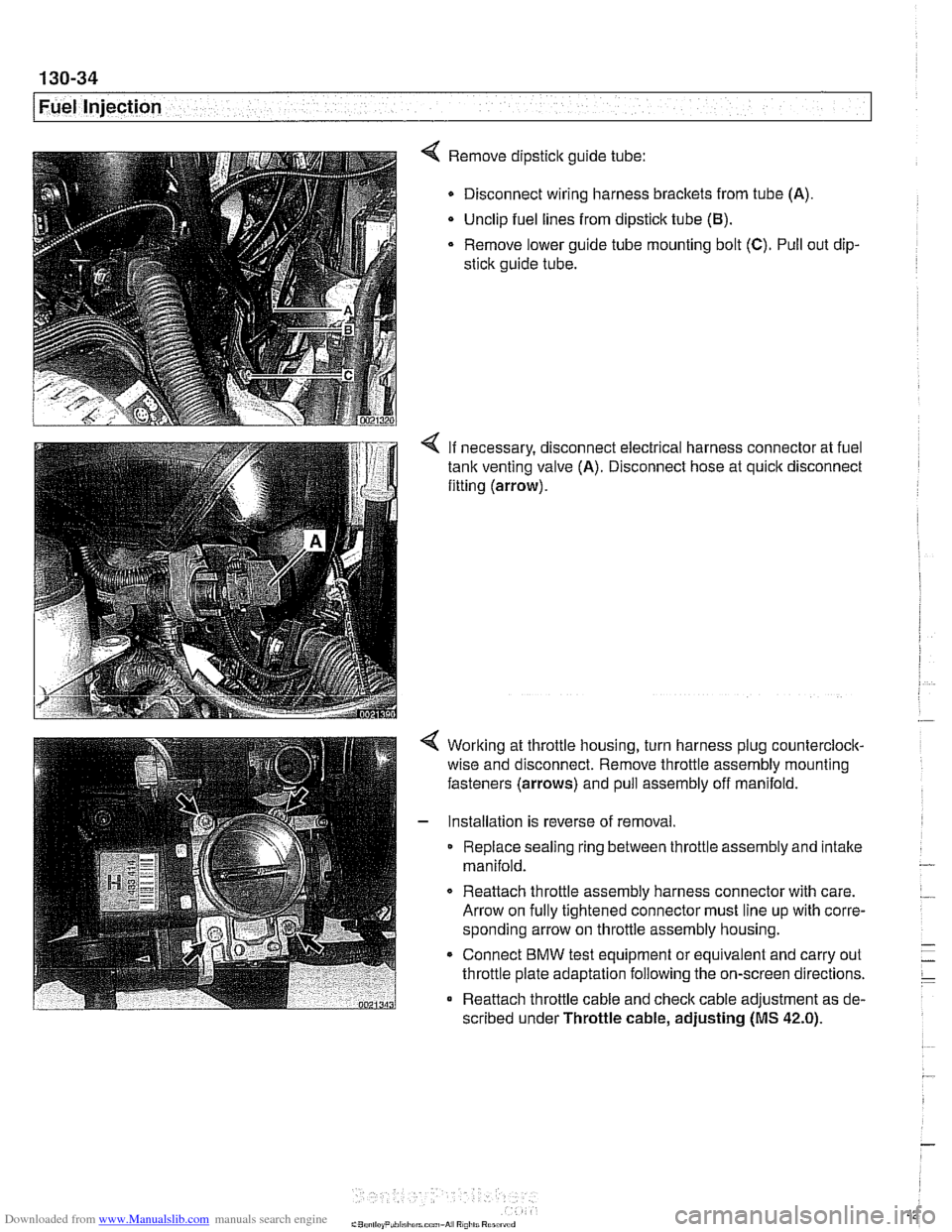 Engine Bmw 528i 1998 E39 Workshop Manual Wire Harness Replacement Page 424