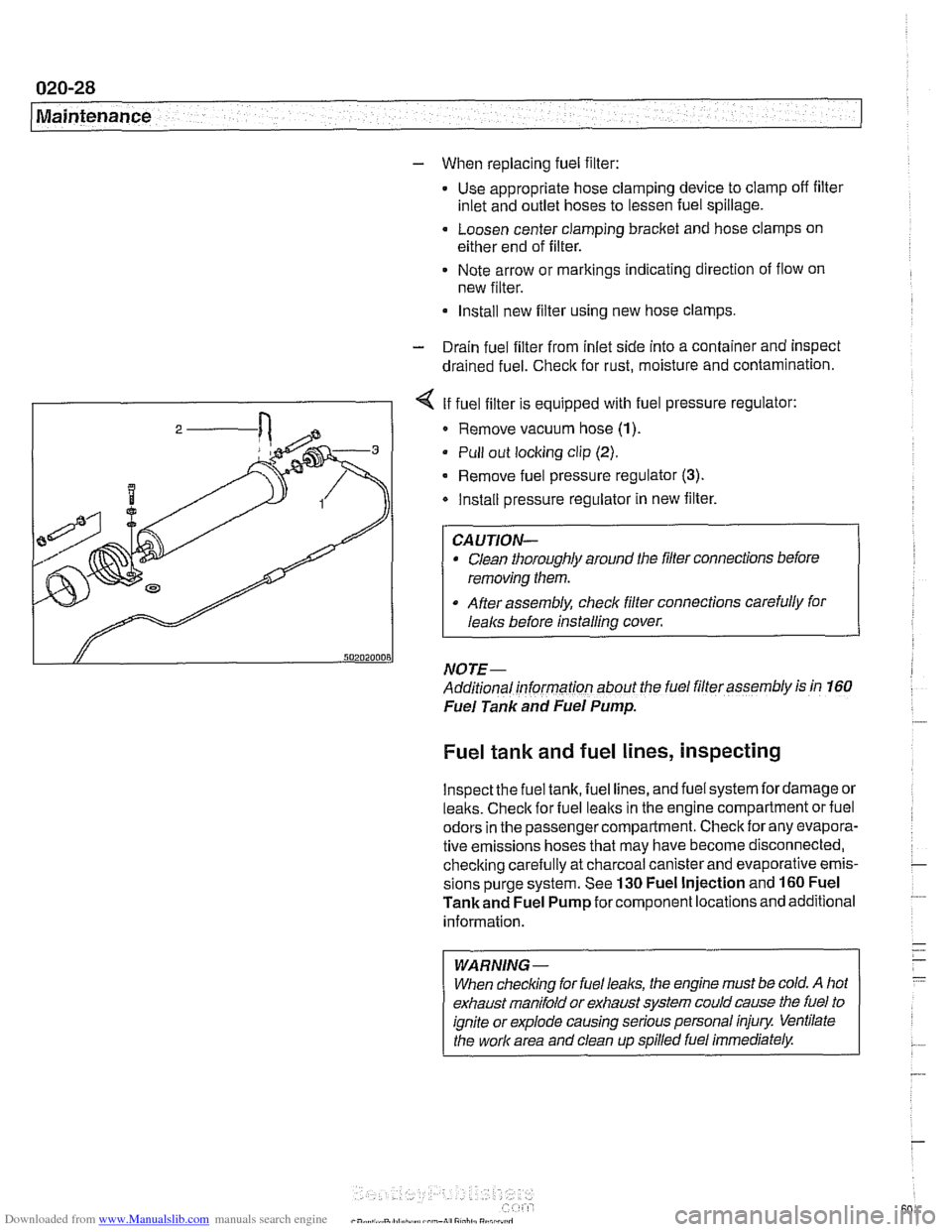 check engine BMW 525i 2000 E39 Workshop Manual