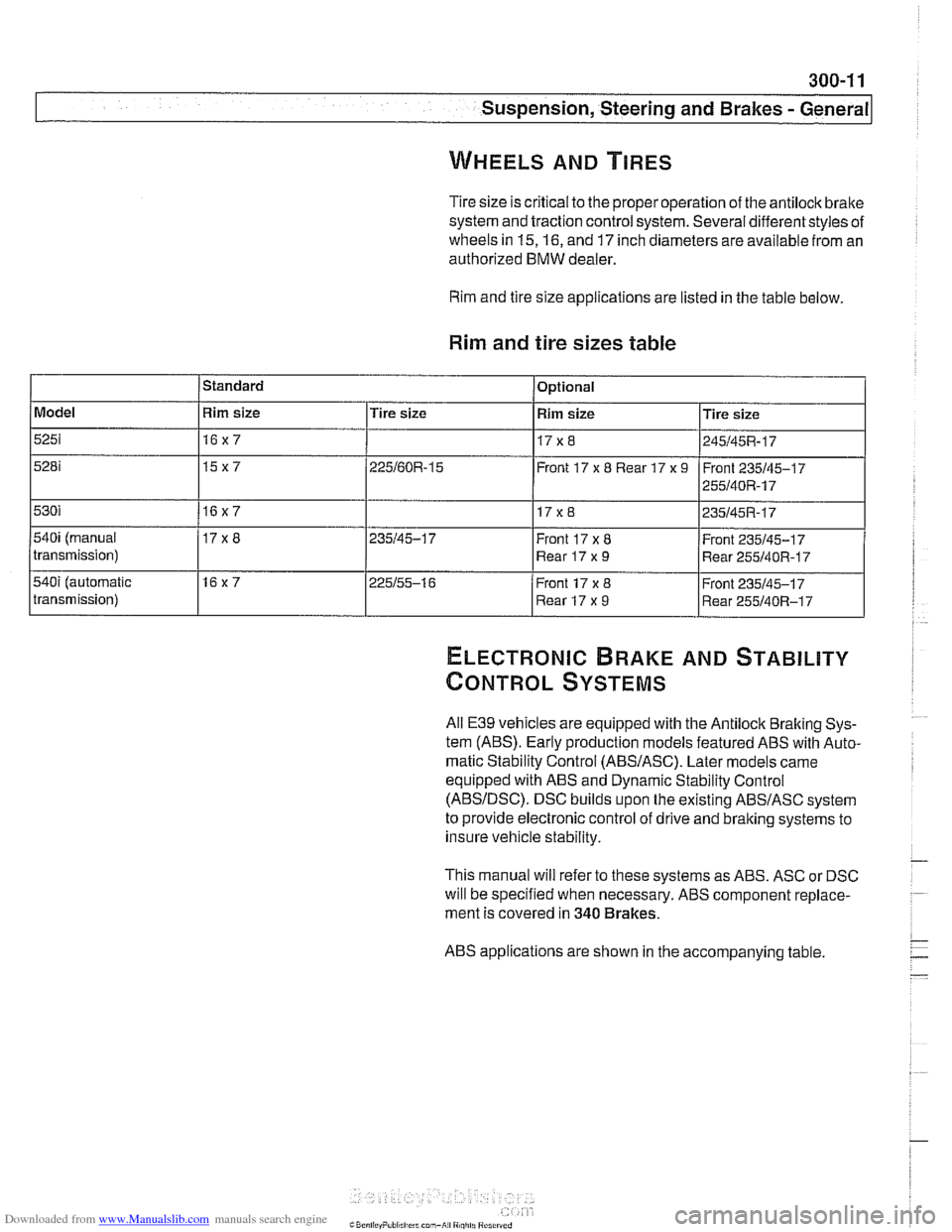 tire size BMW 525i 2000 E39 Workshop Manual