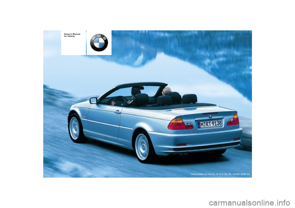 BMW 330Ci CONVERTIBLE 2002 E46 Owners Manual, Page 1