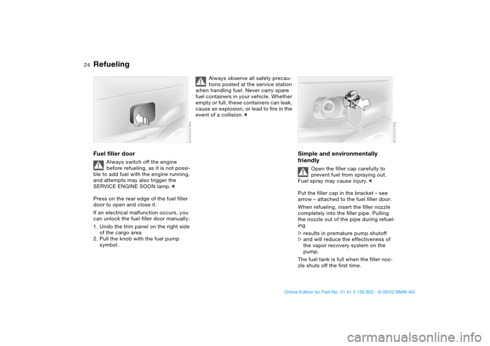 BMW 325i TOURING 2003 E46 Owners Manual, Page 24