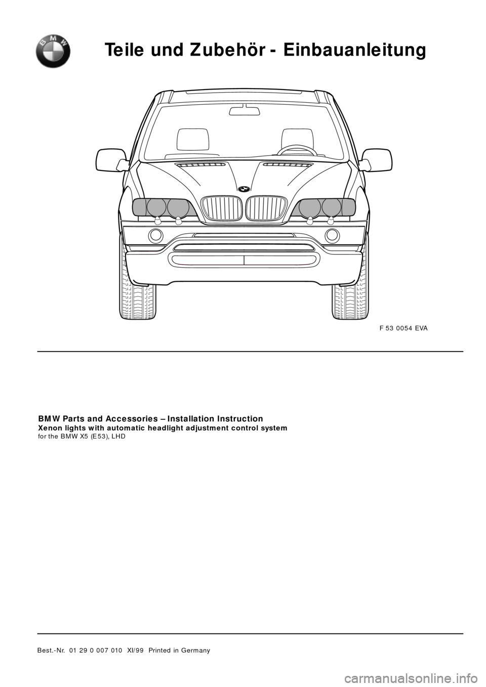 bmw x5 2000 e53 xenon lights instalation instruction manual