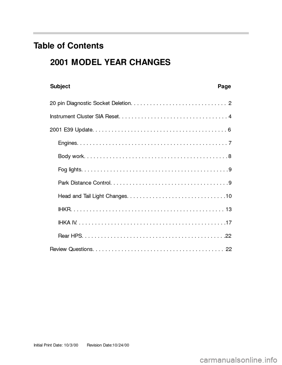BMW 3 SERIES 2003 E46 Model Yar Changes, Page 1