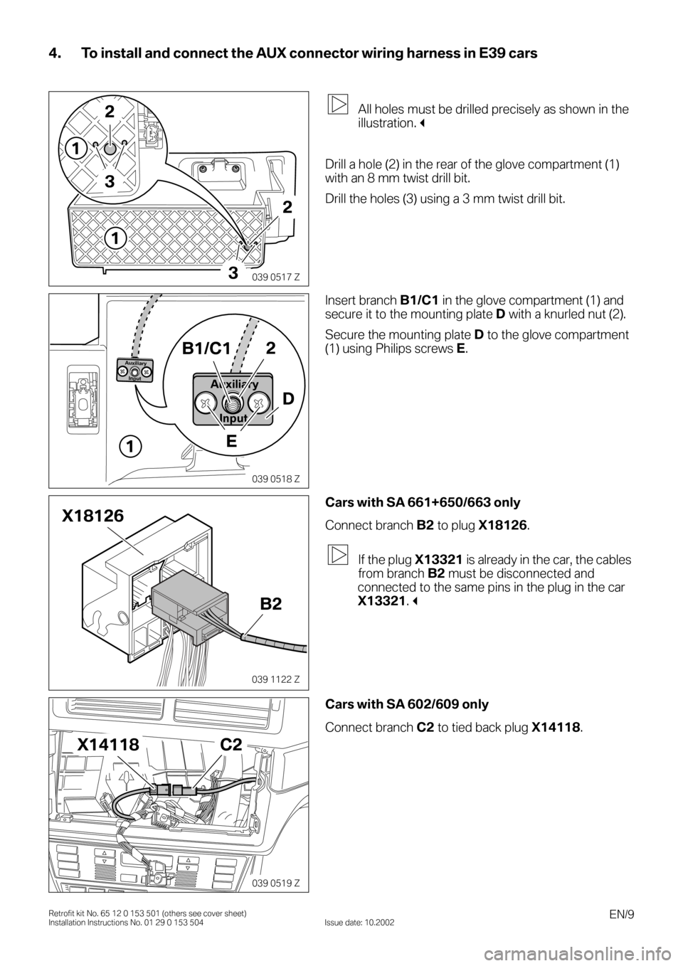 BMW 3 SERIES 2003 E46 Auxilliary Connector Installation Instruction Manual, Page 9