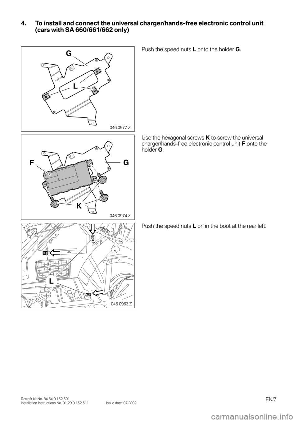 BMW 3 SERIES 2003 E46 Bluetooth Hadsfree Kit Upgrade Installation Instruction Manual, Page 7