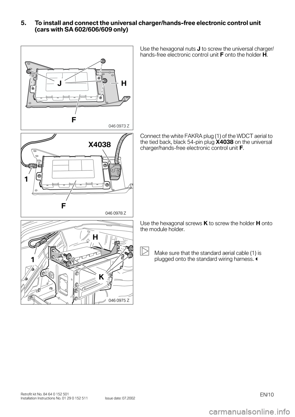 BMW 3 SERIES 2003 E46 Bluetooth Hadsfree Kit Upgrade Installation Instruction Manual, Page 10