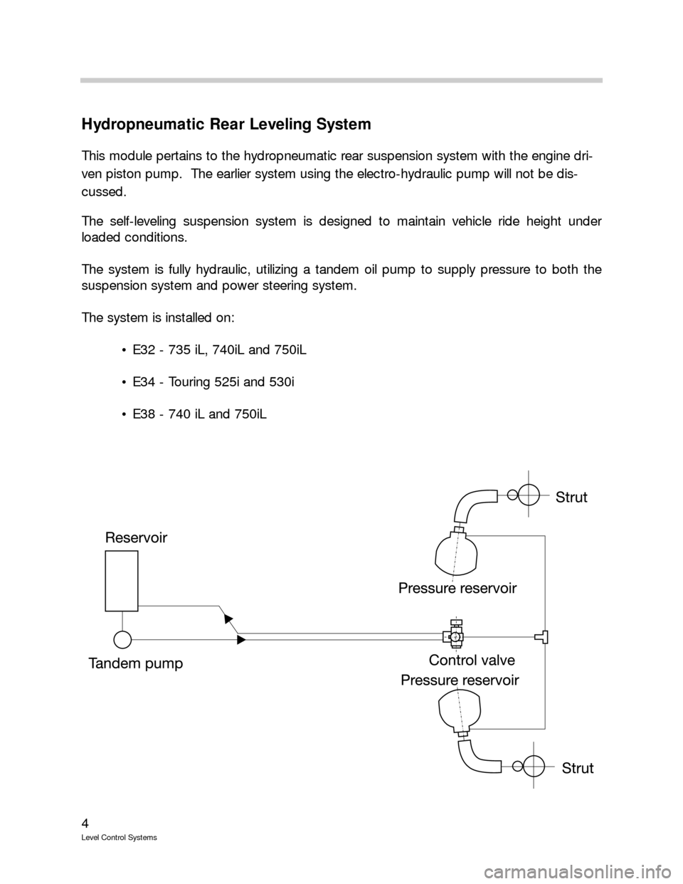 BMW 525I TOURING 1989 E34 Level Control System Manual, Page 4