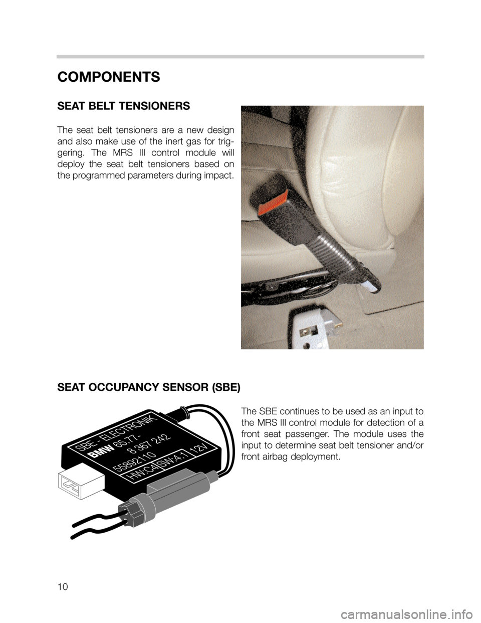 BMW 3 SERIES SEDAN 2003 E46 MRSIII Multiple Restraint System Manual, Page 10