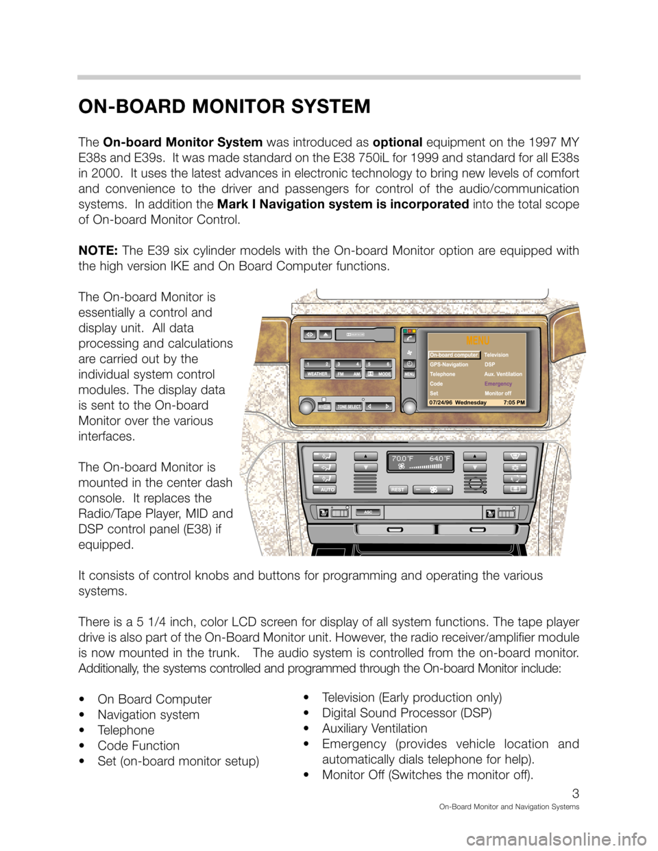 BMW 5 SERIES 1998 E39 On Board Monitor System Workshop Manual, Page 3