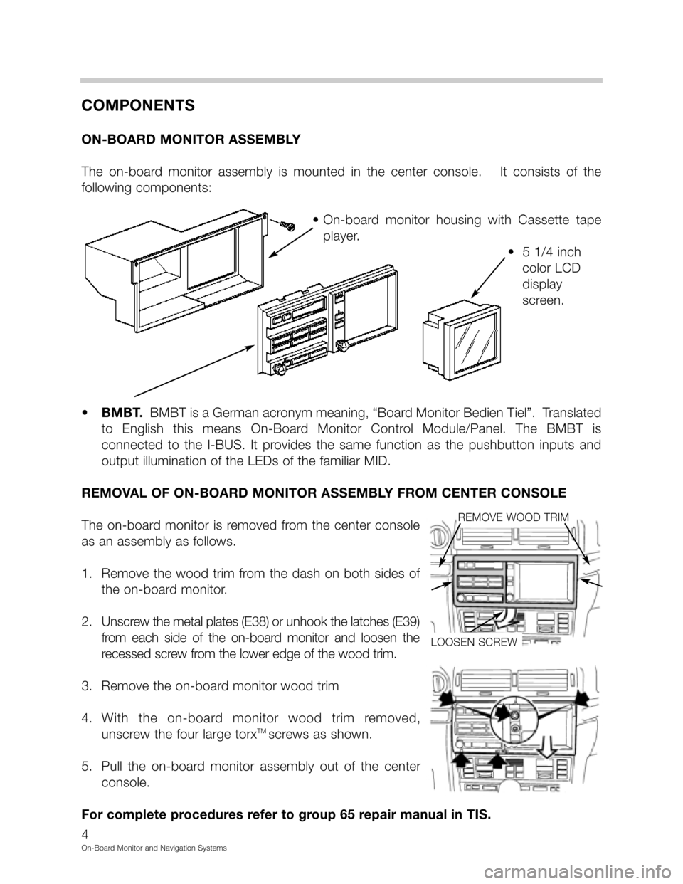 BMW 5 SERIES 1998 E39 On Board Monitor System Workshop Manual, Page 4