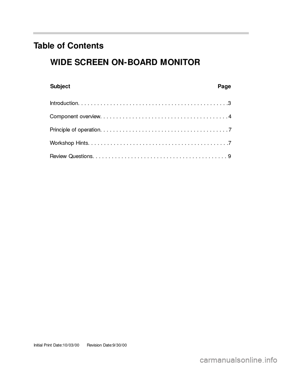 BMW 5 SERIES 2001 E39 Wide Screen On Board Monitor Workshop Manual, Page 1