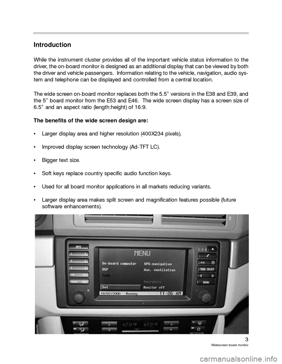 BMW 5 SERIES 2001 E39 Wide Screen On Board Monitor Workshop Manual, Page 3