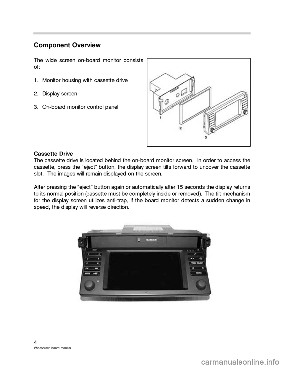 BMW 5 SERIES 2001 E39 Wide Screen On Board Monitor Workshop Manual, Page 4