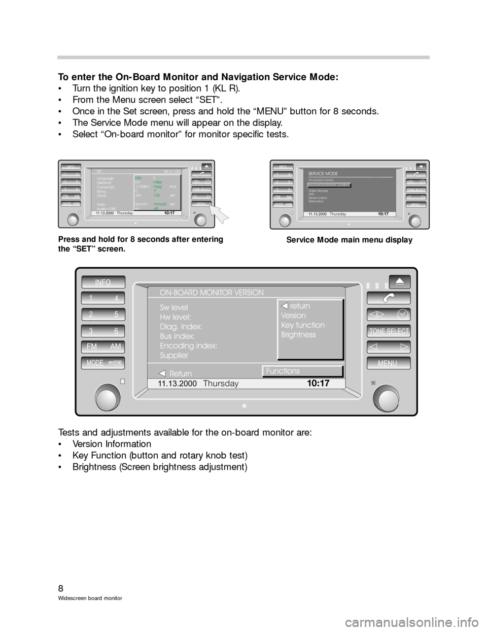 BMW 5 SERIES 2001 E39 Wide Screen On Board Monitor Workshop Manual, Page 8