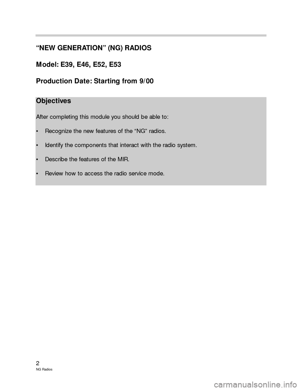 BMW 5 SERIES 2001 E39 New Generation Radios Manual, Page 2